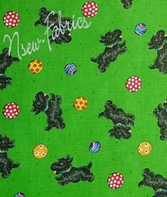 Mary Engelbreit SCOTTY Dog & Ball Cotton Fabric on Green BTY