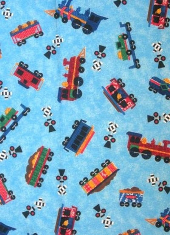 Kids trains cotton fabric engine car caboose railroad signal for Fabric with trains pattern