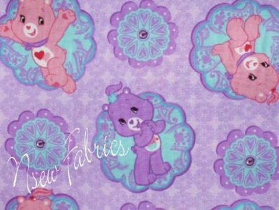 Care Bear Fabric Cotton Flower Power Pink Purple CAMEO - Last Piece quot Pink Power Care Bear
