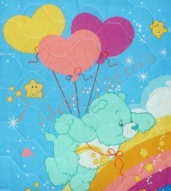 CARE BEAR Cotton Fabric Pre Quilted Panel for Baby Crib