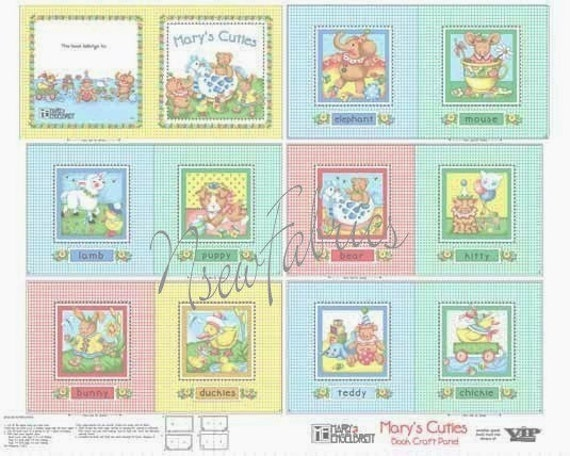 "Mary Engelbreit Soft Book Fabric Panel  or Quilt Blocks 8.5"" Cuties Baby TOY - Mother Goose"