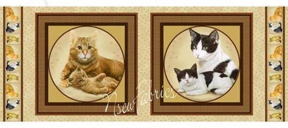 CAT Kitten Fabric Panels for Quilt & pillows by Artist Robert May