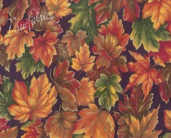 Items Similar To Autumn Fall Leaves Cotton Fabric