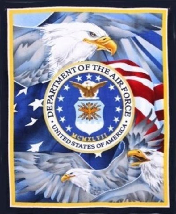US AIR FORCE Fleece Fabric Panel Military Emblem Eagles