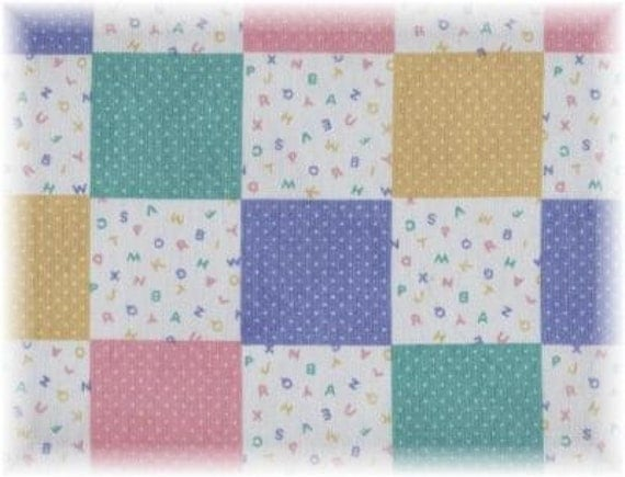 Items similar to Baby Blocks Fabric ABC Patchwork Pastel Quilt ... : baby blocks quilt - Adamdwight.com