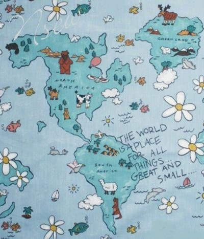Save the earth cotton fabric world planet animals map for Planet print fabric