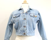 Vintage Jean Jacket 80s Cropped Denim Jacket - M