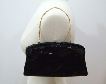 Vintage Evening Bag Black Patent Bag Black Purse