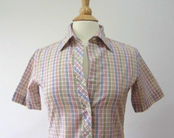 Vintage Plaid Shirt Short Sleeve Pastel Blouse - M