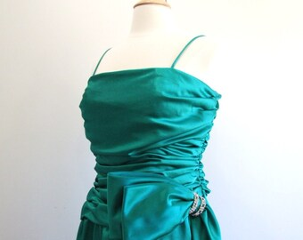 Vintage Prom Dress Green Satin Gown with Rhinestones - M