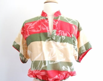 1980s Tropical Shirt Vintage 80s Striped Blouse - M