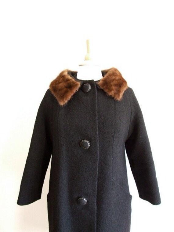 RESERVED - Fur Collar Coat Black Wool Boucle Long Coat - M/L