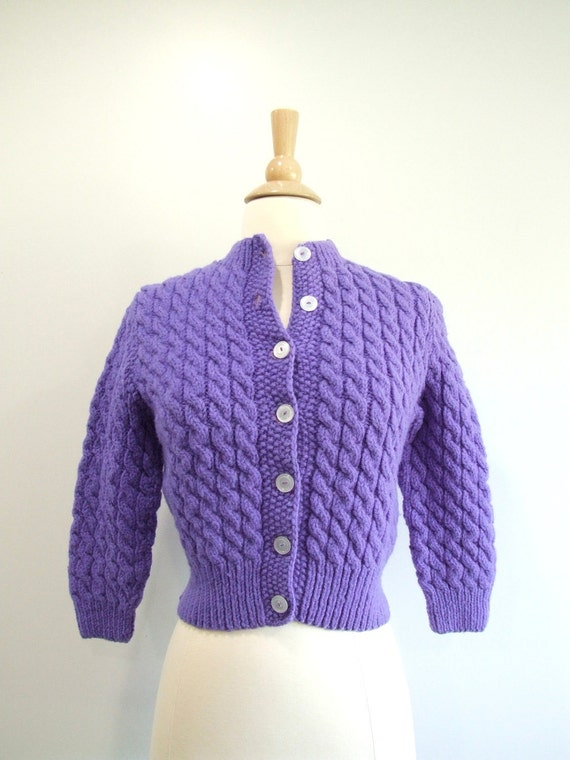 Vintage Cardigan Sweater Purple Cropped Cable Knit - XS