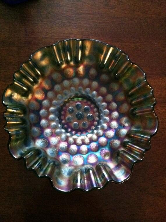 Fenton Coin Dot Carnival Glass Bowl