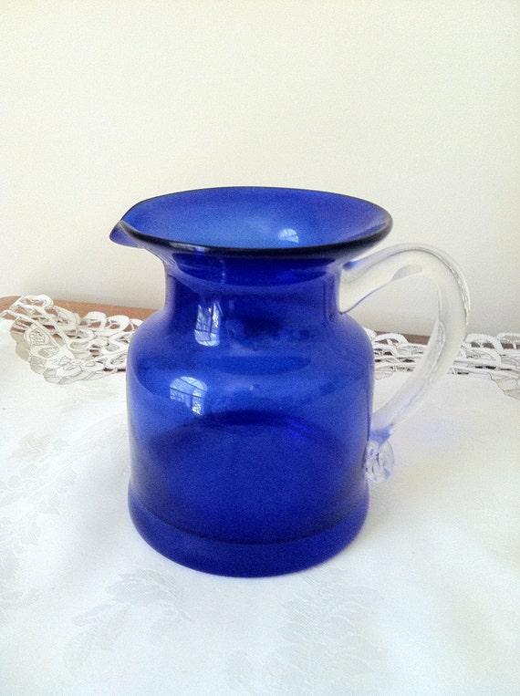 Cobalt Blue Glass Small Pitcher