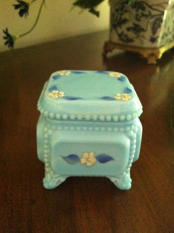 Westmoreland Trinket Box Blue Milk Glass Floral Decoration