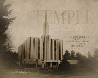 Seattle Washington LDS Temple Print 16x20