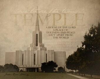 Jordan River Utah LDS Temple Print 16x20
