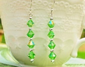 Fern Green Crystal Dangle Earrings