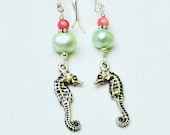 Seahorse Charm Pearl and Coral Dangle Earrings