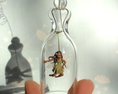 Little Black Fairy. Spring ornament. Miniature under glass bell.