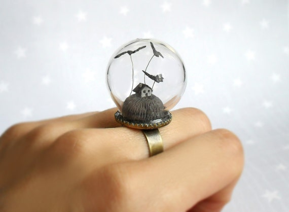 Scary little gray house and bats - fantasy ring