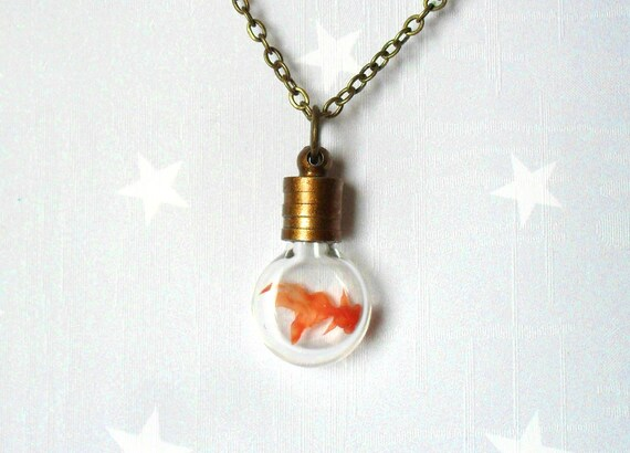 Spring Necklace with a tiny Goldfish in a bottle. Terrarium jewelry