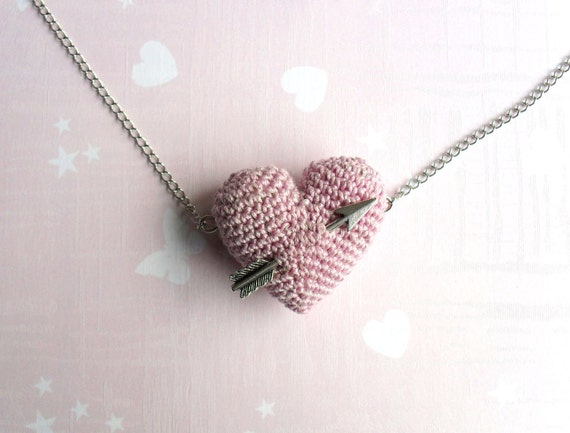 Valentine necklace crochet Pink heart and arrow...Valentine jewelry with pink heart.
