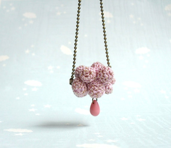 Pink Rain shower- Crochet jewelry-Necklace with Cloud and raindrop. Spring necklace.