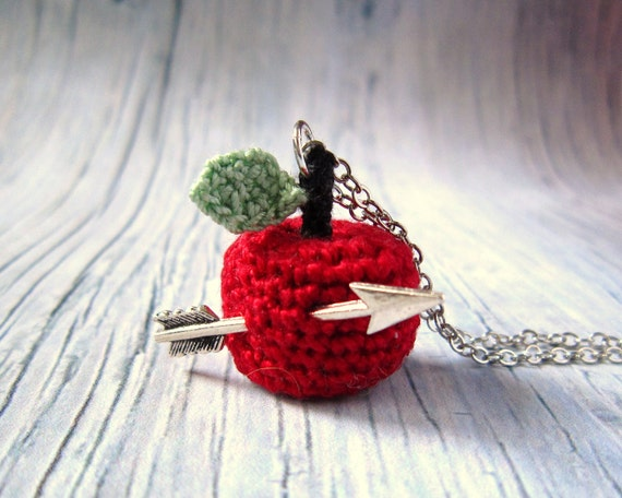 Valentines Necklace with crochet Red Apple and arrow.
