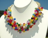 Genuine Jade Multi Color, Pearl Multi Strand Statement Necklace, MOP Flower Clasp, Artisan Handcrafted in America