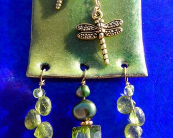 Gold Dragonfly Green Enamel Peridot Pearl Statement Pendant Necklace, OOAK Artisan Handcrafted in America