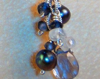 Faceted Iolite Rainbow Moonstone Akoya Pearl Sterling Silver Leaver-back Earrings, Artisan Handcrafted in America