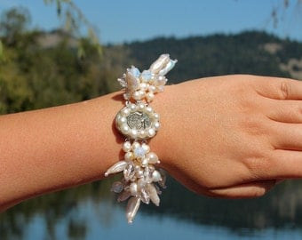 White Freshwater Pearls, Quartz, Opalite, Multi Strands, MOP Cameo, Statement Bracelet, OOAK Artisan Handcrafted in America