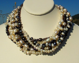 Black & White Freshwater Pearls Multi Strand Statement Necklace, Onyx Clasp, Artisan Handcrafted in America