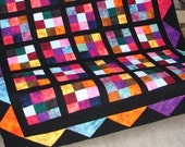 Quilt Pattern  - Hot Flash Quilt Pattern Wallhanging Lap or Baby Quilt Easy PDF INSTANT DOWNLOAD