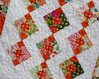 Quilt Pattern  - Marmalade Parade Baby or Throw  Size -  Layer Cake or Fat Quarters - Easy - PDF INSTANT DOWNLOAD