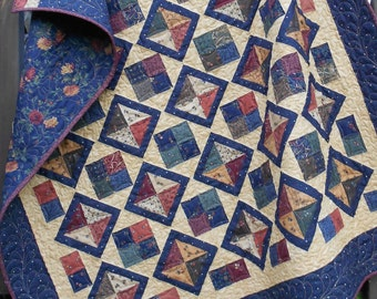 Quilt Pattern - Diamond Dandy Quilt Pattern - 5 Sizes   - Charm Squares - Layer Cake and FQ Friendly