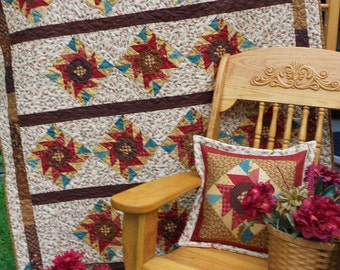Layer Cake Quilt Pattern  -  Chocolate Cosmos -  Large Throw / Lap Quilt & Pillow  - PDF INSTANT DOWNLOAD