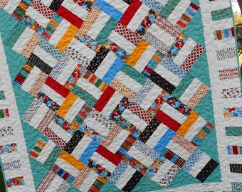 Jelly Roll Quilt Pattern  - Pickup Sticks - Baby and Throw Sizes - Quick & Easy - PDF INSTANT DOWNLOAD