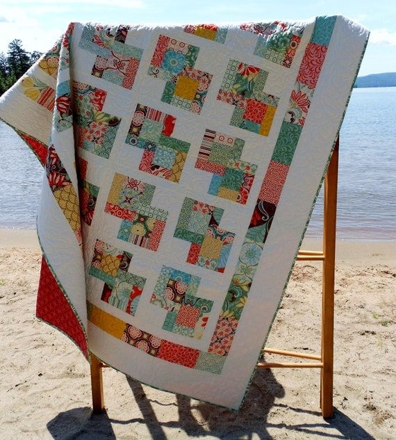 20% Off Coupon Code - Quilt Pattern -  Danish Delights Layer Cake Quilt Pattern 3 Sizes Quick, Easy -  PDF Version hard copy also avaiable
