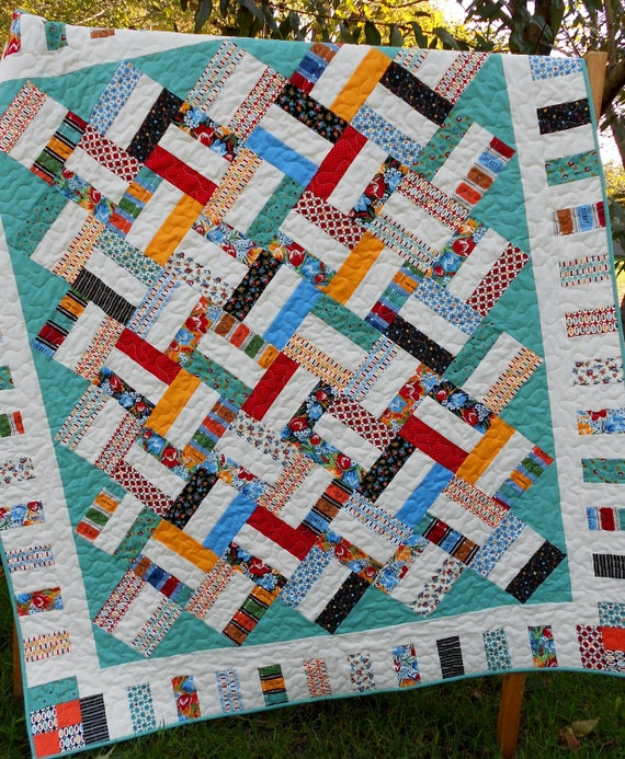 Jelly Roll Quilt Pattern : Pickup Sticks - Baby and Throw Sizes - QUICK & EASY
