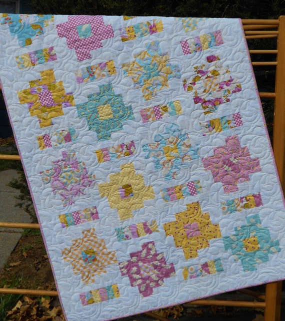 Baby Quilt Pattern - Layer Cake and Honey Bun Friendly - Honey Cakes Baby Quilt Pattern - PDF ...