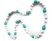 Recycled Newspaper Bead Necklace -- Ocean Breeze Blue and White