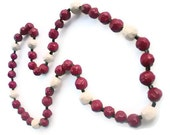 Recycled Newspaper and Glass Bead Necklace -- Tuscan Red and Antique White