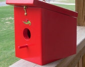 Birdhouse/Handmade/Wood/Hanging/Easy Cleanout/Hook and Staple/ Apple red/Ladybug/Sticker