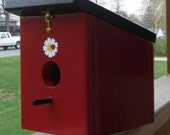 Colonial Red Ladybug Hanging Birdhouse Handmade