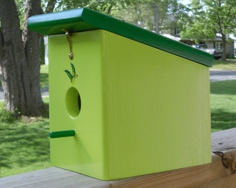 Keylime Green Meadow Birdhouse Handmade