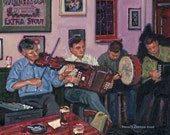 Color Print of Oil Painting, Pub Session, Ireland