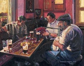 Color Print of Oil Painting, Pub Music, Ireland
